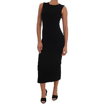 دولتشي وغابانا الصوف الأسود تمتد سليم فستان طويل