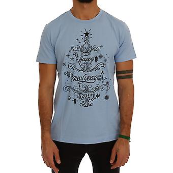 Dolce & Gabbana Blue Cotton 2017 Motive Print T-Shirt
