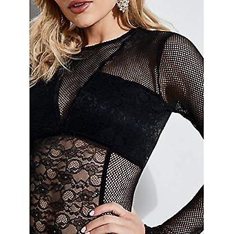 GUESS Women's Long Sleeve Cyon LACE Bodysuit, Jet Black a, S