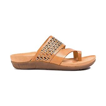 Bare Traps Womens Ginger Leather Open Toe Casual Slide Sandals