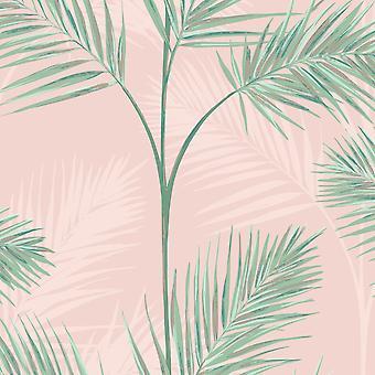 South Beach Palm Leaf Wallpaper Blush Rosa Fina Dekor FD42680