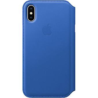 Originele packed MRGE2ZM/A Apple iPhone X Folio Echte lederen Flip Case Cover - Elektrisch Blauw