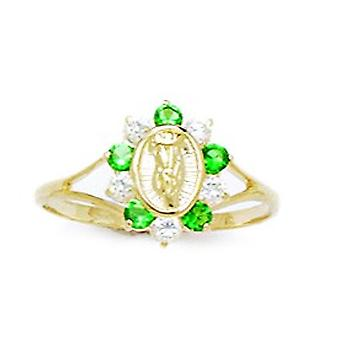14k Yellow Gold Green CZ Cubic Zirconia Simulated Diamond Size 5.5 Virgin Mary for boys or girls Ring