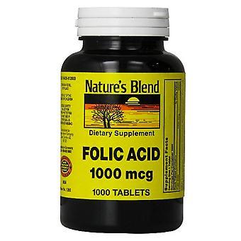 Nature's blend folic acid 1000 mcg, tablets, 1000 ea