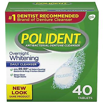 Polident denture cleanser, overnight whitening, tablets, 40 ea