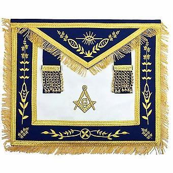 Avental de bordado da máquina de ouro maçônica azul g mestre