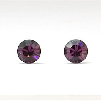 The Olivia Collection Sterling Silver Swarovski Burgundy Stud Earrings