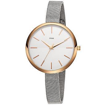 JOBO reloj de pulsera de mujer cuarzo analógico acero inoxidable chapado estrecha pulsera