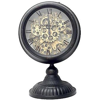 Industrial moving cogs standing clock on footed stand - white
