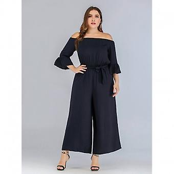 Off Shoulder Wide Legs Backless Ruffles Sleeve Oversized Jumpsuit