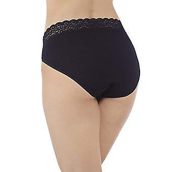 Vanity Fair Women's Flattering Lace Cotton Stretch Hi Cut Panty 13395, Midnig...