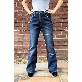 High Waist Bootcut Jeans Stretch Denim Diamante Flares