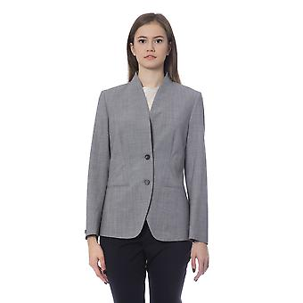 Grey Double Button Single  Breasted Blazer