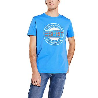 Esprit Men's Logo Print Jersey T-Shirt Regular Fit Blau