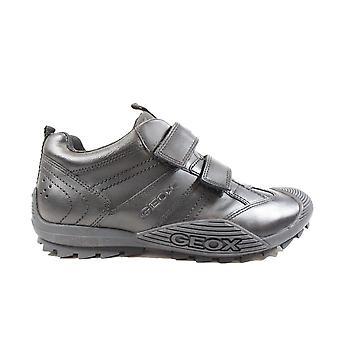 Geox Savage J0424A Sort læder Drenge Rip Tape Skole sko
