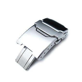 Strapcode watch clasp 20mm brushed stainless steel push button diver clasp for watch band, 4 adjust holes and improved flip-lock