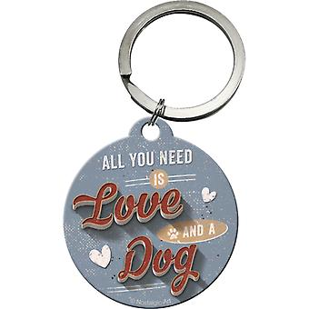 All You Need is Love and a Dog Original Nostalgic Keyring - Cracker Filler Gift