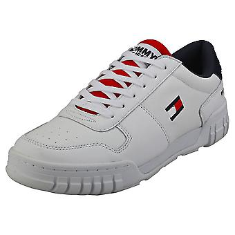 Tommy Jeans Retro Sneaker Mens Fashion Trainers in Red White Blue