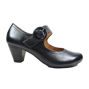Caprice 24403 Ocean Navy Leather Womens Mary Jane Heeled Shoes