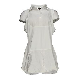 Kathleen Kirkwood Women's Top Dictrac-Ease Chambray Shirttail White A311148