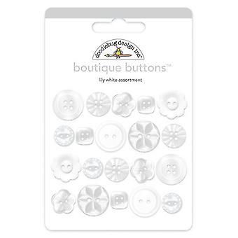 Doodlebug Design Lily Valkoinen Boutique-painikkeet (20kpl) (2479)