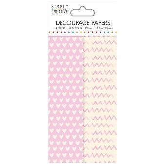 Simply Creative FSC Decoupage Paper - Soft Hearts