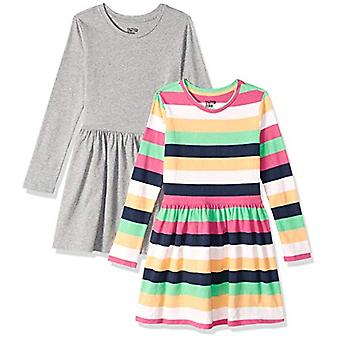Brand - Spotted Zebra Big Girls' Knit Long-Sleeve Play Dress, Multi-St...