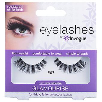 Invogue Glamourise False Synthetic Eyelashes - #7 - Reusable and Easy to Apply