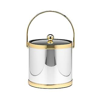 Mylar Polished Chrome & Brass 3 Qt. Ice Bucket W/ Brass Bale Handle,  Bands & Metal Cover