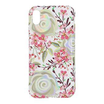 iPhone XR skal med hållare TPU Vit/blommor