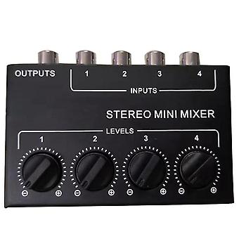 Cx400 Mini Stereo Rca 4-channel Passive Mixer Small Stereo Dispenser For Live And Studio (black)