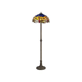 2 Light Leaf Design Floor Lamp E27 With 40cm Tiffany Shade, Blue, Orange, Crystal, Aged Antique Brass