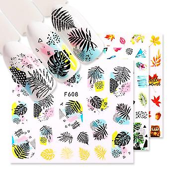 1 Sheet Nail Sticker Flower Leaves Slider Transfer Nail Stickers For Manicure
