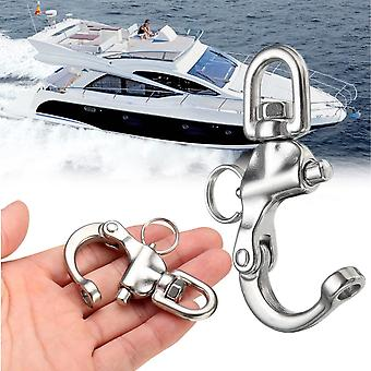 Stainless Steel Rotary Spring Hook- Quick Release Boat Chain Eye Shackle Swivel Bracket Snap Hook Hardware Tool