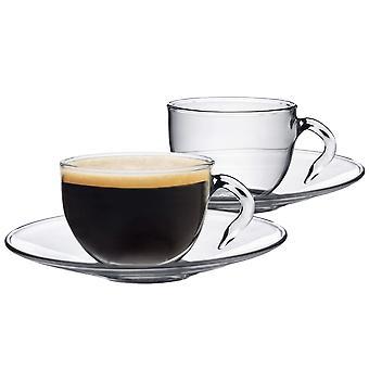 Clear Glass Espresso Cups & Underkopper - 60ml (2.1oz) - Pakke med 2