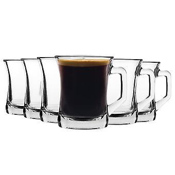 LAV 12 pieza Zen + vidrio taza de café set - estilo moderno de la manija de la manija de la manija / gafas de café - claro - 225ml