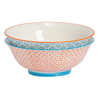 Nicola Spring 2 Piece Hand-Printed Salad Bowl Set - Japanese Style Porcelain Fruit Pasta Serving Bowls - 2 Colours - 21.5cm