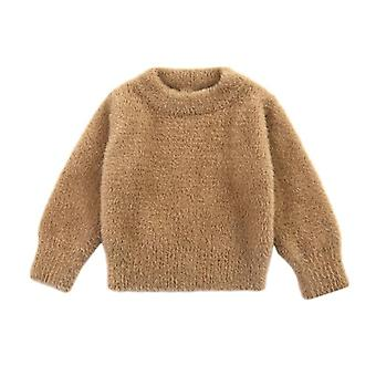 Baby Boy Girl Solid Sweater Autumn Winter Toddler Warm Long Sleeve Tops Blouse Clothes