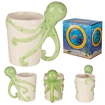 Fun Novelty Sealife Design Octopus Shaped Handle Ceramic Mug