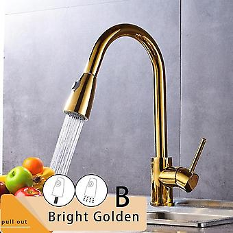 Brushed Nickel Kitchen Faucet, Single Hole Pull Out Spout Sink Mixer Tap,
