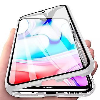 Mobiilikotelo, jossa on sisäänrakennettu näytönsuoja Xiaomi Redmi 8 : lle - hopea