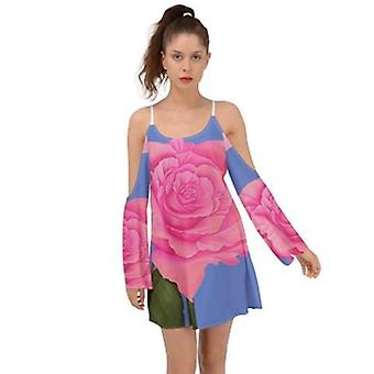 Roz Albastru Rose Kimono Mâneci Femei Boho Rochie