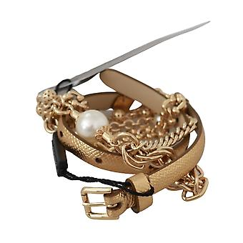 Dolce & Gabbana Beige Leather Gold White Pearl Waist Belt