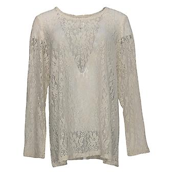 LOGO Layers By Lori Goldstein Women-apos;s Top Lace Long-Sleeve Beige A376642