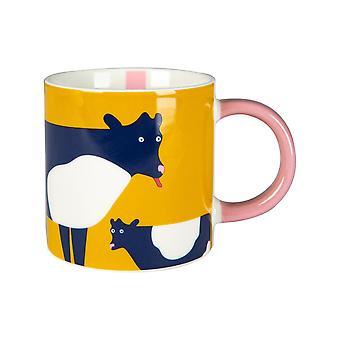Joules Cow Mug, Gold