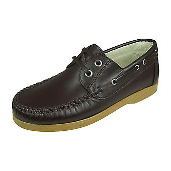 Angela Brown Max Boys Leather Boat Shoes - Brown