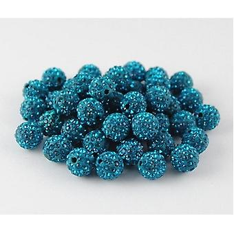 10 Buc en-gros 10mm Turcoaz Blue Shamballa Crystal Pave Clay Disco Ball / margele Cehă