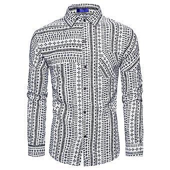 YANGFAN Men's Lapel Print Shirt Ethnic Casual Long-sleeved Top