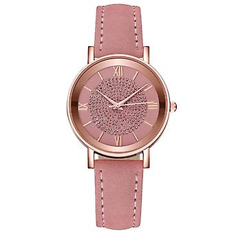 Starry Sky Dial Watches - Fashion Roman Scale Rhinestone Leather Ladies Quartz