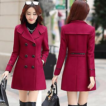 New Double Breasted Wool Coat Overcoat Autumn Slim Woolen Outerwear Clothing